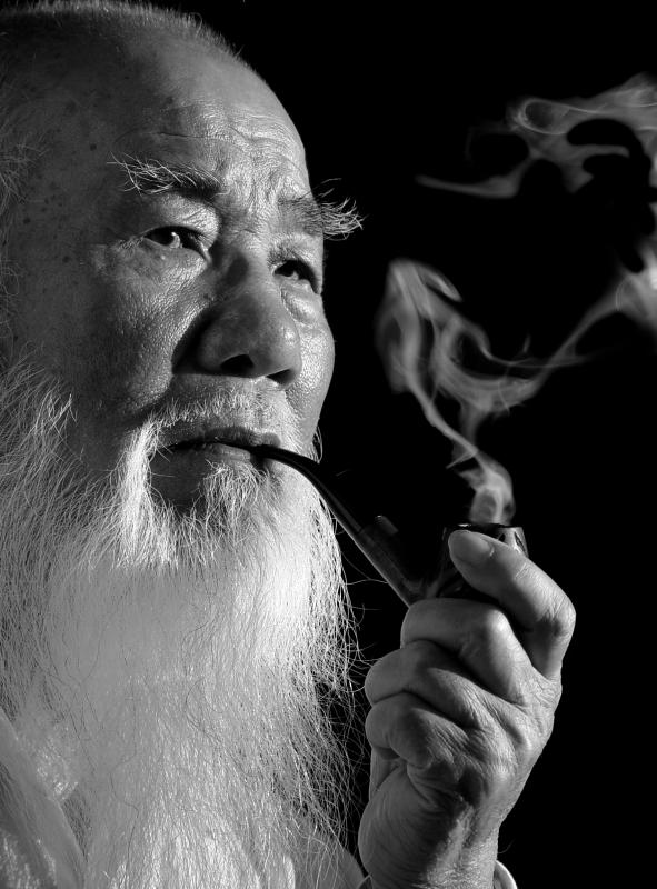 Chinese Old Man Head With Long Beard Character In